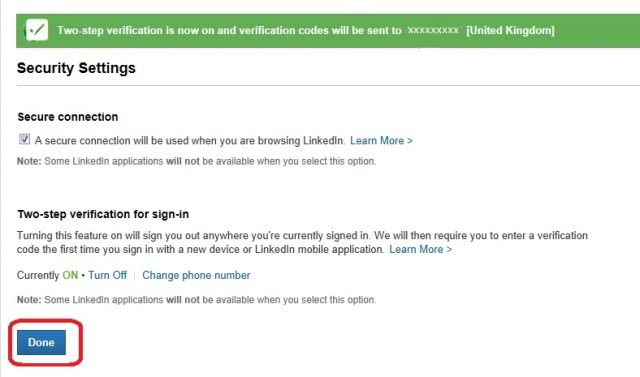 LinkedIn 2-stage confirmation
